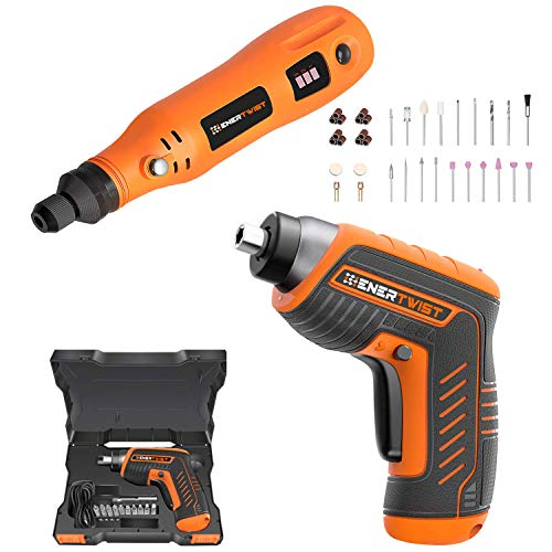 ENERTWIST Cordless Electric 4V Rechargeable Screwdriver and 4V Rotary Tool Combo Kit