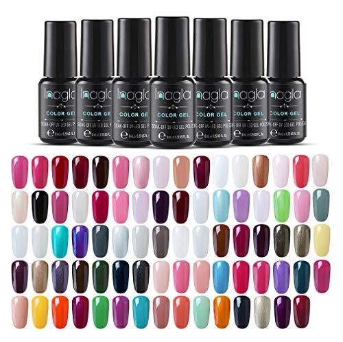 Inagla Klassische Nagellack 10 Farben Set, UV Lack Gel Nägel, UV LED Soak Off Gel Polish Gellacke Kit 8ML (wählen sie 10 farben von 67 Farben)