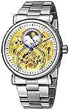 ACONAG Relojes automáticos para Hombre Gold Tourbillon Skeleton Watch Moon Phase Impermeable Acero Inoxidable Reloj (Color : Steel White)