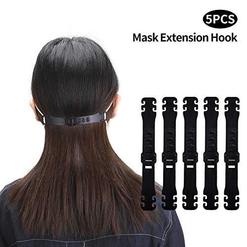 ENJOHOS 5 PCS Máscara Gancho, Tipo de desgaste del oído Hebilla ajustable Pendiente Máscara Hebilla de extensión Útil para prevenir el dolor de oído (negro)