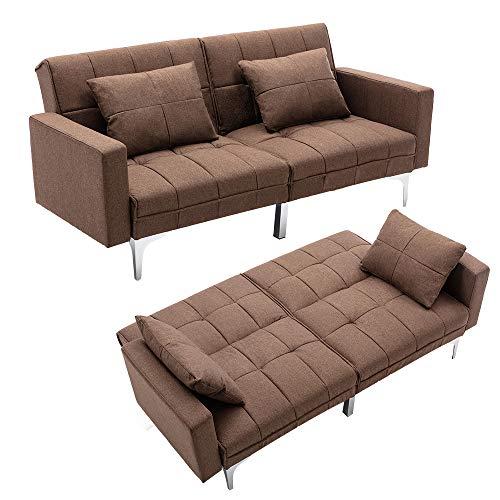 Mingone Schlafsofa Sofa mit Schlaffunktion 3 Sitzer Sofabett Verstellbarer Winkel Couch Schlafsessel (Braun, 76 x 86 x 148 cm)