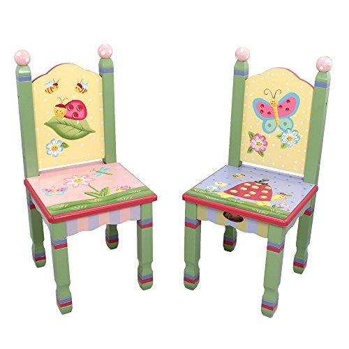 2 chaises (pas de table) pieds en bois chambre enfant bébé jouets jeux W-7484A/2