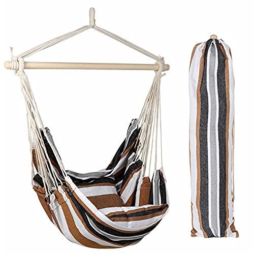 E EVERKING - Hamaca de cuerda colgante, Café (Coffee Stripe)