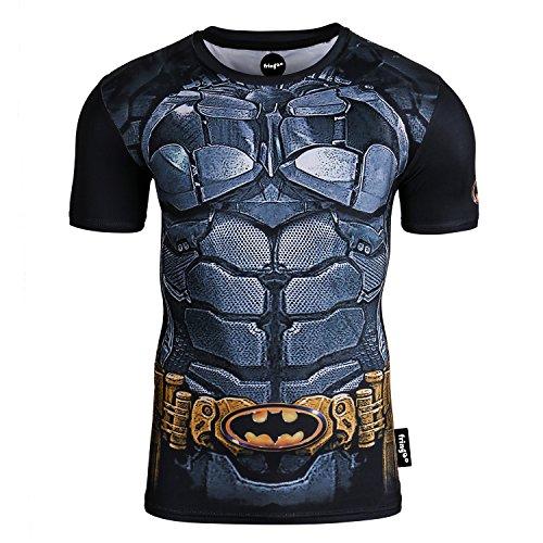 Fringoo - Felpa termica da uomo a compressione da supereroe, strato base per palestra, manica lunga, da corsa Batman - T-shirt M