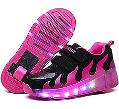 pit4tk LED Light Up Roller Skate Shoes Single Wheel Outdoor Boy GirlsChristmas