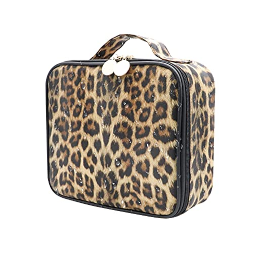 Makeup Organizer and Storage,LKE Comestic Bags Large Makeup Bags Leopard Train Case Large Travel Makeup Bag Travel Organizer Waterproof Makeup Case Accessories for Women