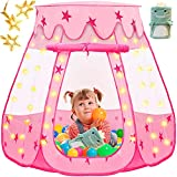 Kids Play Tent, Kidsbro Princess Tent Pop Up Tent with Blanket and Star Lights,...