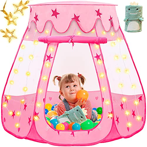 Kids Play Tent, Kidsbro Princess Tent Pop Up Tent with Blanket and Star Lights, Princess Castle Kids Playhouse with a Carrying Bag, Foldable Ball Pit Kids Tent for Toddler Girl Indoor or Outdoor Games