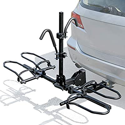 "Leader Accessories 2-Bike Platform Style Hitch Mount Bike Rack, Tray Style Bicycle Carrier Racks Foldable Rack for Cars, Trucks, SUV and Minivans with 2"" Hitch Receiver"