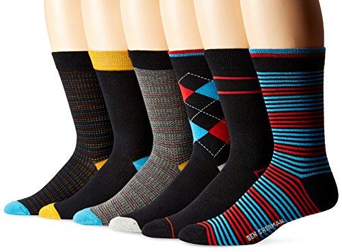 Ben Sherman Men's 6 Pack Henry Crew Socks, Red/Black, Sock Size: 10-13/Shoe Size:9-11 (Pack of 6)