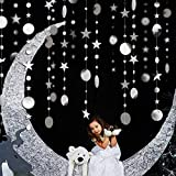 Decor365 Bling Bling Silver Twinkle Star Garland Streamer Kit for Party Decorations Glitter Metallic Circle dot Garland Glittery Bunting Garlands Banner for Wedding Kids Room Birthday Baby Shower