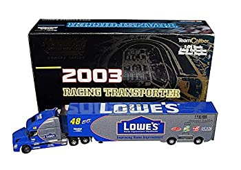 AUTOGRAPHED 2003 Jimmie Johnson #48 Lowes Team  Hendrick Motorsports  Winston Cup Series Vintage Signed Team Caliber 1/64 Scale NASCAR Racing Transporter Diecast with COA  1 of only 800 produced