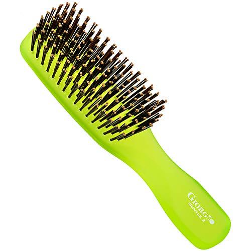 Giorgio GION2G Neon Green 6.25 inch Gentle Touch Detangler Hair Brush for Men Women & Kids. Soft Bristles for Sensitive Scalp. Wet & Dry for all Hair Types. Scalp Massager Brush Stimulate Hair Growth