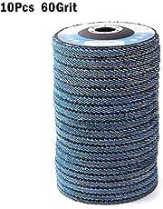 arthomer 10 Pieza Muela de láminas INOX Disco abrasivo 115 mm Grano 40 60 80 120 Compartimentos de Disco de Láminas Abrasiva para Acero y Madera