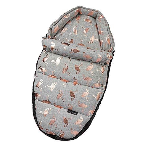 Gesslein Baby-Nestchen, 004 Flamingos rosé/grau meliert, warmes Kuschelnest/Fußsack für Neugeborene und Säuglinge für Kinderwagen Wanne, Babyschale, Bettchen und Wiege, inkl. Gurtschlitze, 715004000