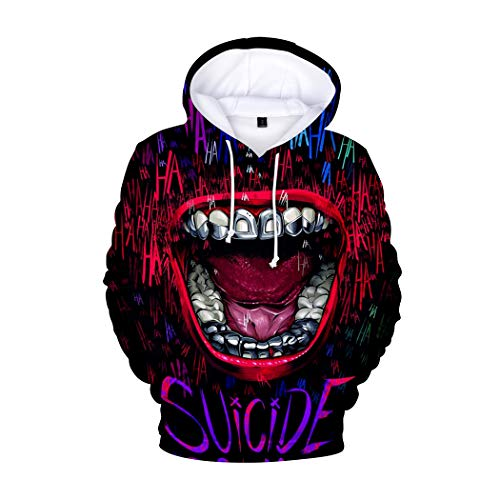 JLTPH Damen Herren Haha Joker 3D Druck Kapuzenpullover Hoodies Sweatshirt Paare Pullover Loose Fit Kapuzenpulli Oberteile Langarmshirts
