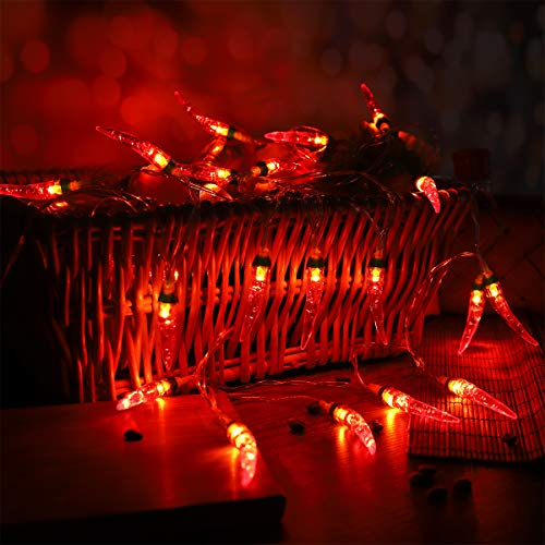 OSALADI Chili String Lights 3m 20 LEDs Battery Powered Pepper Lights Decorations for Patio Fence Deck Balcony Camping (Red)