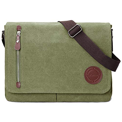 Vintage Canvas Satchel Messenger Bag for Men Women,Travel Shoulder bag 13.5' Laptop Bags Bookbag (Army green)