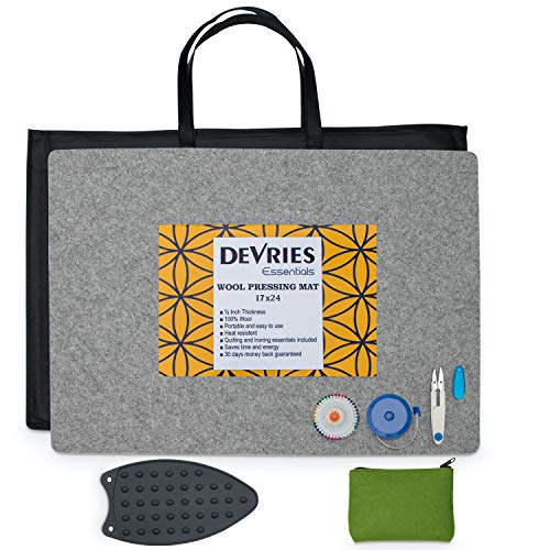 "DeVries Essentials Wool Pressing Mat for Quilting 17"" x 24"" Kit 100% New Zealand Wool Ironing Pad for Quilters 