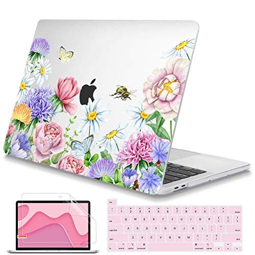 Mektron MacBook Pro 16 Case 2019 2020 Release A2141 with Touch Bar Fit Touch ID, Soft-Touch Ultra-Thin Plastic Laptop Case for MacBook Pro 16 inch, Watercolor Flower Garden
