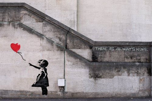 Banksy Girl with rot Balloon There is Always Hope Graffiti Poster Plakat Maßnahmen 59cm von 42cm