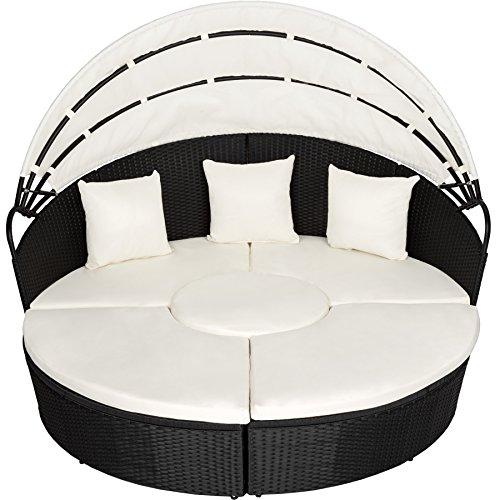 TecTake Canapé de jardin chaise longue bain de soleil en aluminium et résine tressée avec toit dépliable | largeur: env. 178cm | diverses couleurs au choix (noir | no. 402198)