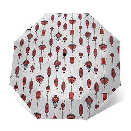 Regenschirm Taschenschirm Kompakter Falt-Regenschirm, Winddichter, Auf-Zu-Automatik, Verstärktes Dach, Ergonomischer Griff, Schirm-Tasche, Laterne 22