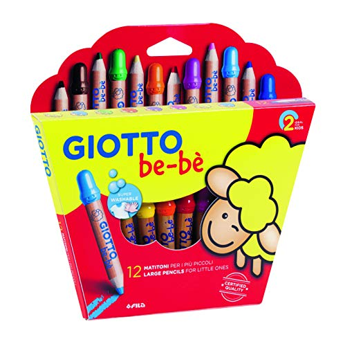 Giotto Be Be Super Large Giant Colored Pencils 12 PCS with Large Pencil Sharpener