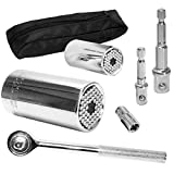 PANMAX Universal Socket Wrench Set (11-32mm 7-19mm) Multi-function Hand Tools Universal Repair Tools,Multi-Function Ratchet Wrench Power Drill Adapter 6Pc Set