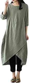 Wintialy Women Vintage Long Sleeve Tunic Baggy Long Maxi Dress Plus Size