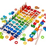 A/A Montessori Lernspielzeug, Kleinkind Angeln Spiel Spielzeug, Kinder Vorschule Mathe Sortieren Stapeln Anzahl Zählen Lernen Spiel Holzblöcke Puzzle