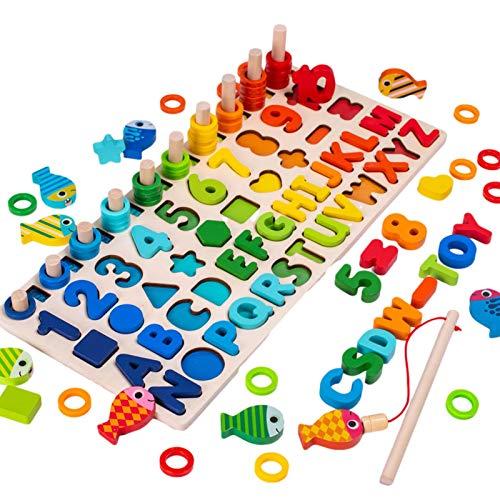 Jouet éducatif Montessori en bois, indispensable à l'apprentissage des chiffres et des lettres, parfait pour apprendre à compter et à reconnaître les couleurs, avec jeu de pêche magnétique inclus