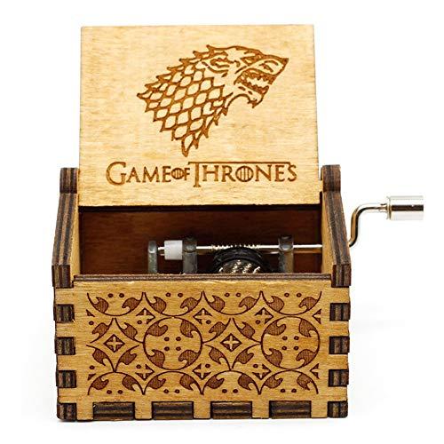Goodangie00 Hölzerne Spieluhr Holz Handkurbel Graviert Musikbox Vintage Hochzeit Valentinstag Weihnachten Geburtstagsgeschenk - Game of Thrones