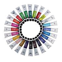 joyMerit 全2サイズ アクリル絵の具 水彩 12色/24色 顔料 チューブ アクリル塗料 絵画顔料 初心者 絵画用品 - 24色20ml 11cm