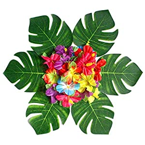 Queen.Y Artificial Party Supply,Hibiscus Flowers Jungle Party Decorations Tropical Plant Leaves 30Pcs Leaves and 24Pcs Flowers Table Decor