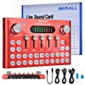 REMALL Live Sound Card with Effects and Voice Changer, Bluetooth Audio Mixer for Live Streaming, Music Recording, Podcast, Karaoke Singing for iPhone, Mobile Phone, Type C, Computers - Red