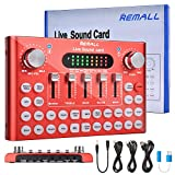 REMALL V8 Sound Card, DJ Mixer, Voice Changer, Sound Board, V9 Live Sound Card for Microphone Audio Mixer Streaming, Bluetooth Podcast Mixer With Karaoke Singing Broadcast on Phone PC
