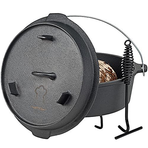 Chefarone Dutch Oven Set bereits eingebrannt für Feuer und Grill - 5,8 L Gusseisen Topf inkl. Deckel und Deckelheber - BBQ Gusseisen Bräter - Dutch-Oven Feuertopf Grilltopfø 32 cm