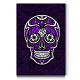 Renditions Gallery Sugar Skull Wall Art, Purple, Bright Colors, Mexican Artwork, Day of The Dead, Premium Gallery Wrapped Canvas Decor, Ready to Hang, 32 in H x 48 in W, Made in America Portrait Print
