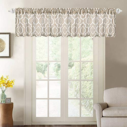 "NANAN Trellis Window Curtain Valance, Poly Linen Rod Pocket Geometric Moroccan Window Valance for Living Room,Matching with Curtain Panels - 52""x18"", Taupe"