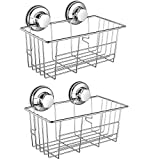 SANNO Two Suction Shower Caddies, Deep Basket Shelf with Suction...