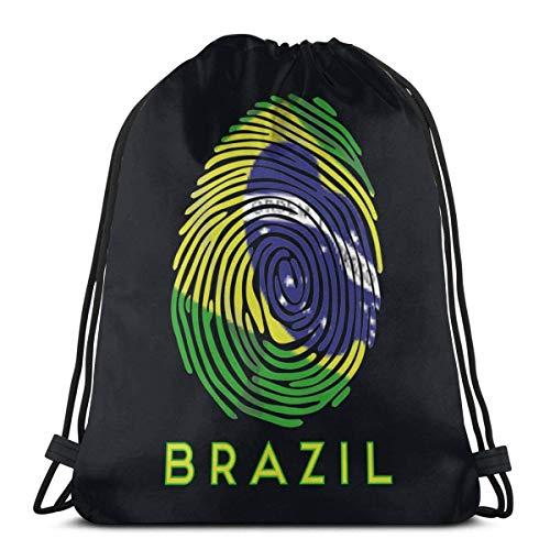 Mochila deportiva con cordón de la bandera de Brasil con diseño de huellas dactilares, para mujeres, hombres, niños, 36 x 43 cm