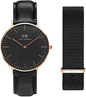 Daniel Wellington Gift Set, Classic Sheffield 36mm Rose Gold Watch with Cornwall Nato Strap