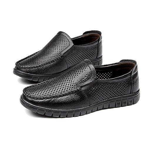 XIANGBAO-Personality Classic Comfort zapatos de hombre zapatos transpirables perforaciones cuero genuino superior sin cordones planos suela suave mocasín, color Marrón, talla 40 EU
