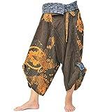 Harem Pants Women Men Yoga Ninja Pants Samurai Style (Brown)