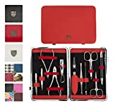3 Swords Germany - brand quality 11 piece manicure pedicure grooming kit set for professional finger & toe nail care scissors clipper genuine leather case in gift box, Made in Solingen Germany (03669)