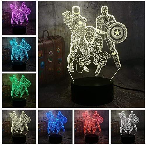 Luz de Noche 3D Anime Ilusión Lámparas Luz nocturna para niños regalo juguetes para niños y niñas regalo de cumpleaños Luz de noche 3D Avengers Illusion Light Marvel Comics Iron Man Spiderman
