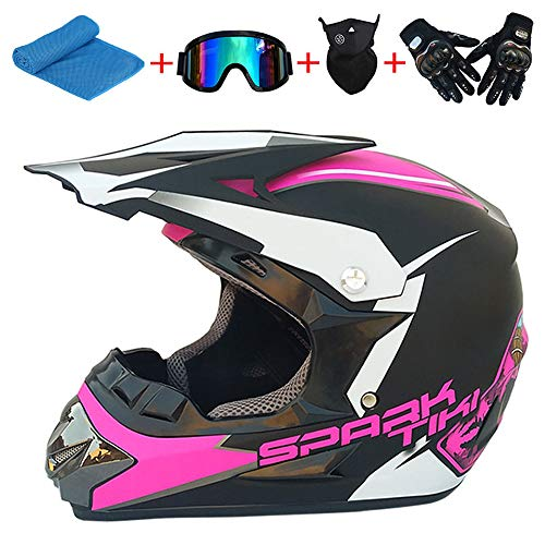 AKBOY Full Face Mountain Bike Helmet Motocross Helmets Youth Kids Protective Ghost Head Mountain Bicycle Road MTB Ski Adult Helmet (Towel, Gloves, Goggles, Masks, 5-piece Set) Pink Black
