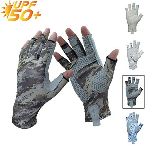 Riverruns Fingerless Fishing Gloves- Fishing Sun Gloves- UV Protection Gloves Men and Women Fishing, Boating, Kayaking, Hiking, Running, Cycling and Driving.