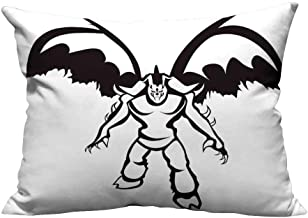 YouXianHome Decorative Throw Pillow Case Illidan Stormrage Illustration Demon Hunter The Betrayer Night Elf and Sorcerer Black Whit Ideal Decoration(Double-Sided Printing) 12x16 inch